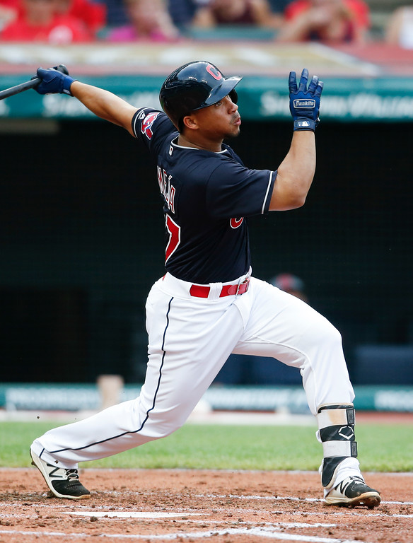 . Cleveland Indians\' Francisco Mejia flies out to right field against the New York Yankees during the second inning of a baseball game, Saturday, July 14, 2018, in Cleveland. (AP Photo/Ron Schwane)