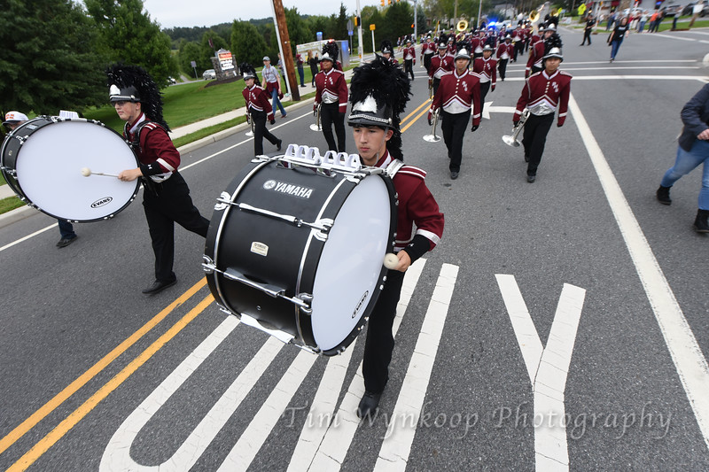 The Phillipsburg High School Stateliner Marching Band marches from the school to Maloney Stadium ahead of their game against Union, Sept. 21, 2018.
