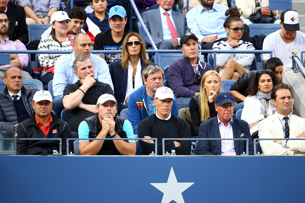 . Novak Djokovic of Serbia\'s friends, family and coaches watch his men\'s singles final match against Rafael Nadal of Spain on Day Fifteen of the 2013 US Open at the USTA Billie Jean King National Tennis Center on September 9, 2013 in the Flushing neighborhood of the Queens borough of New York City.  (Photo by Al Bello/Getty Images)