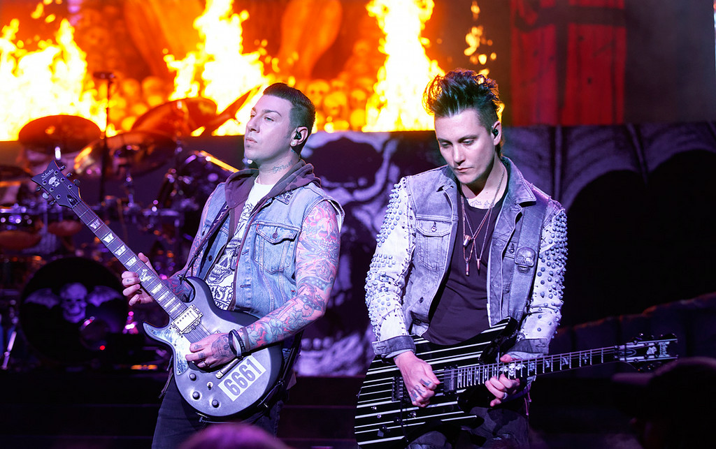 . Avenged Sevenfold\'s Synyster Gates and Zacky Vengeance perform at Mayhem Festival on Thursday, July 18, 2014, at DTE Energy Theatre, Independence Township. Photo by Ken Settle