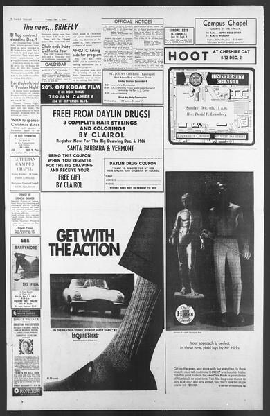 Daily Trojan, Vol. 58, No. 50, December 02, 1966