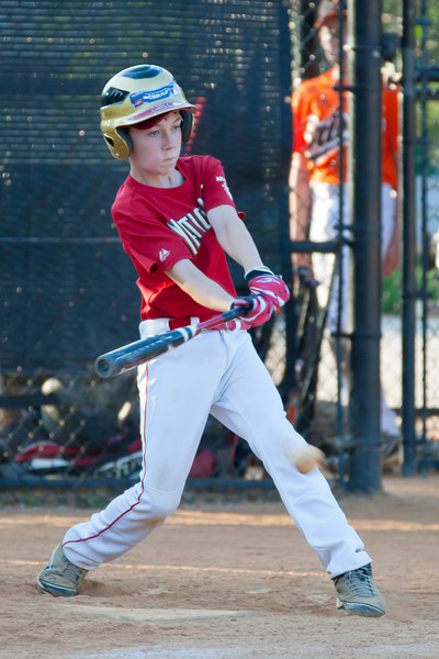Toby hits a RBI single up the middle to extend the Nats lead to 3-1 in the top of the 6th inning. The Nationals played a close game against the Orioles before pulling away in the top of the 6th inning for a 5-2 win. They finished the regular season with a 12-6 record. 2012 Arlington Little League Baseball, Majors Division. Nationals vs Orioles (09 Jun 2012) (Image taken by Patrick R. Kane on 09 Jun 2012 with Canon EOS-1D Mark III at ISO 800, f4.0, 1/640 sec and 280mm)