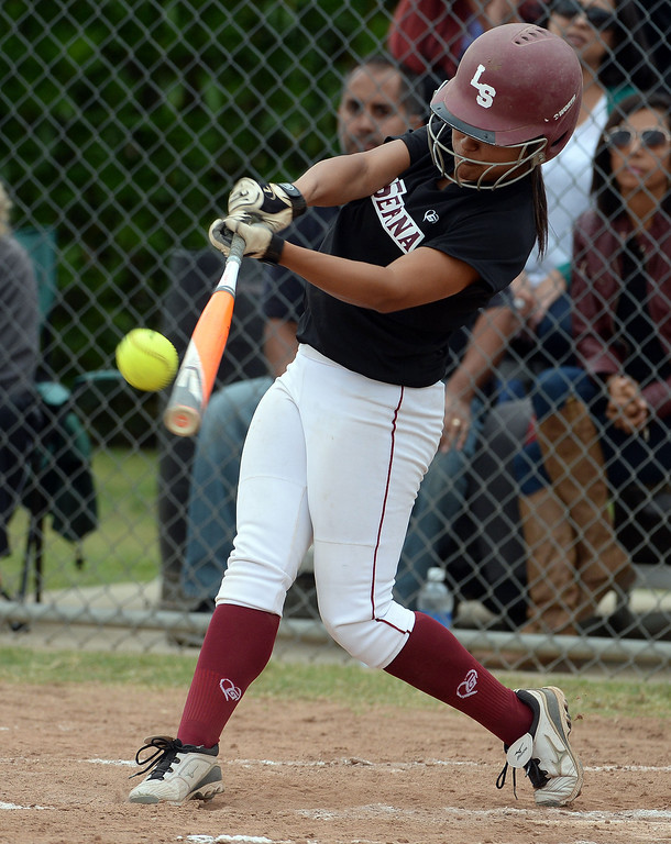 . La Serna\'s Raeanne Martinez RBI double in the second inning of a prep playoff softball game against Bishop Amat at Bishop Amat High School in La Puente, Calif., on Thursday, May 22, 2014. La Serna won 6-0.   (Keith Birmingham/Pasadena Star-News)