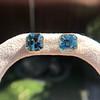 8.41ctw Blue Zircon Asscher Cut Bezel Earrings 3
