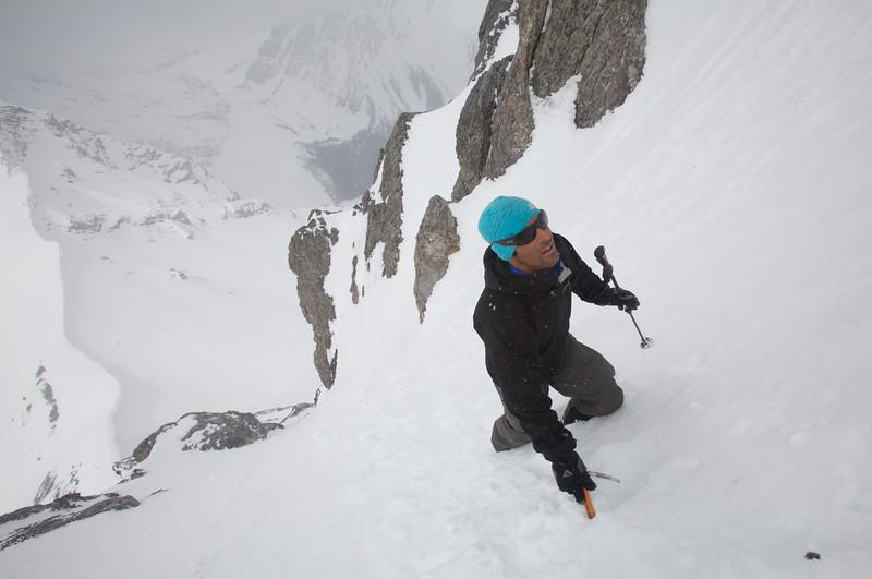 Andrew on the exposed west ridge.