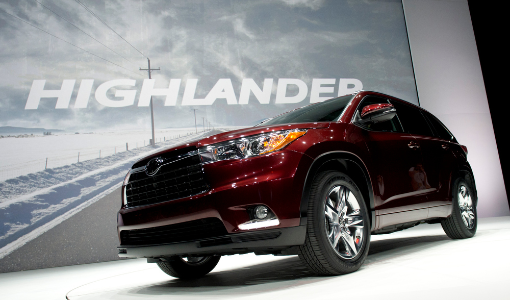 . The Toyota Highlander is introduced during a media conference at the New York International Auto show March 27, 2013 in New York. AFP PHOTO/Don EmmertDON EMMERT/AFP/Getty Images
