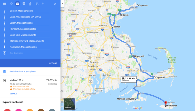 boston to nantucket map