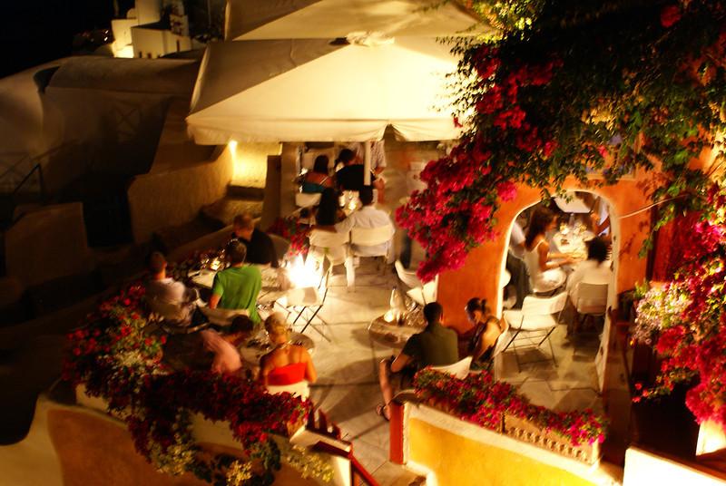 Dinner at night, Oia, Santorini, Greece