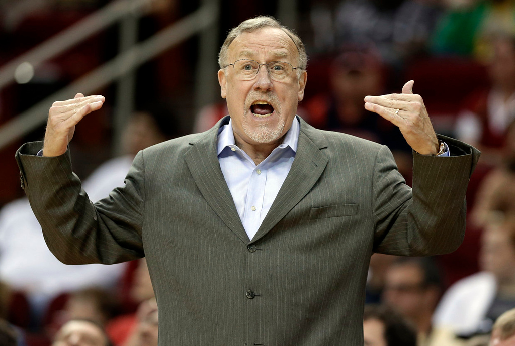 . Minnesota Timberwolves coach Rick Adelman questions a call in the first half. (AP Photo/Pat Sullivan)