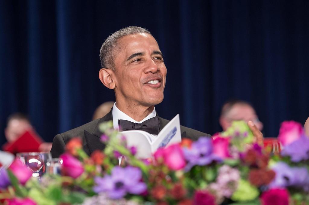 . US President Barack Obama attends the 102nd White House Correspondents\' Association Dinner in Washington, DC, on April 30, 2016. / AFP PHOTO / NICHOLAS KAMM/AFP/Getty Images