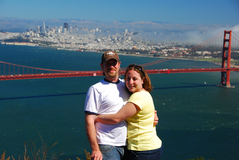Close-up of John and Megan at the Golden Gate.