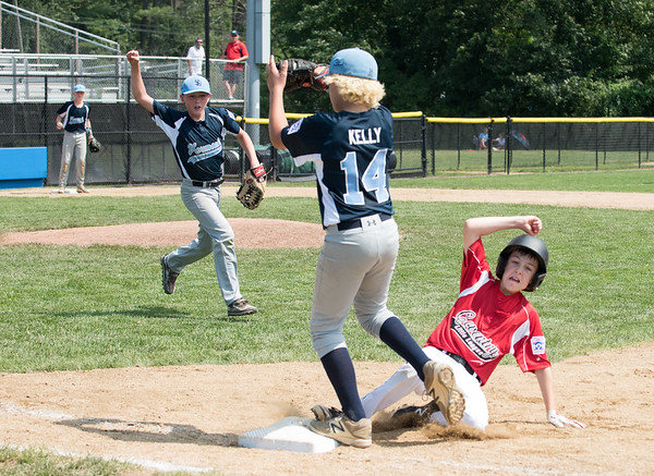 08/06/18 Wesley Bunnell   Staff Rhode Island defeated Vermont 10-0 in a 2018 East Regional Little League game in Bristol on Monday afternoon. Vermont pitcher Kevin Dowling (24) celebrates after catching a line drive back to the mound and throwing to first baseman Nick Kelly (14) to double off the Rhode Island runner.
