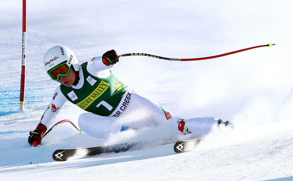 . Hungary\'s Edit Miklos makes a turn during the women\'s World Cup Downhill skiing event, Friday, Nov. 29, 2013, in Beaver Creek, Colo. (AP Photo/Alessandro Trovati)