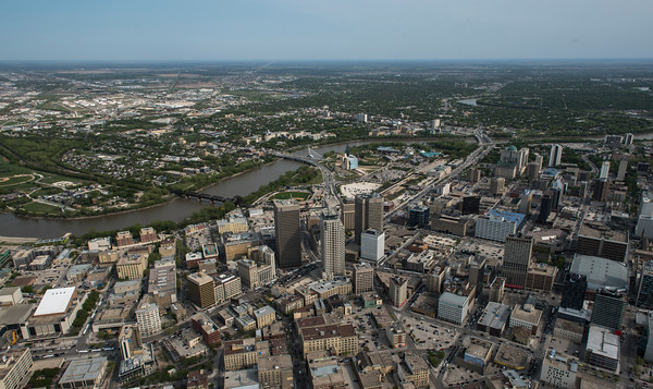 DAVID LIPNOWSKI / WINNIPEG FREE PRESS  Downtown Winnipeg featuring Portage and Main  Aerial photography over Winnipeg May 18, 2016 shot from STARS helicopter.