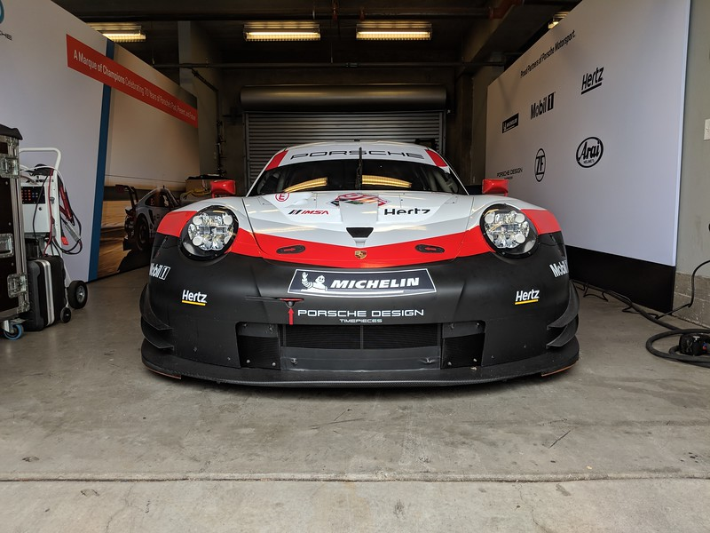 The 2018 911 RSR in its garage.