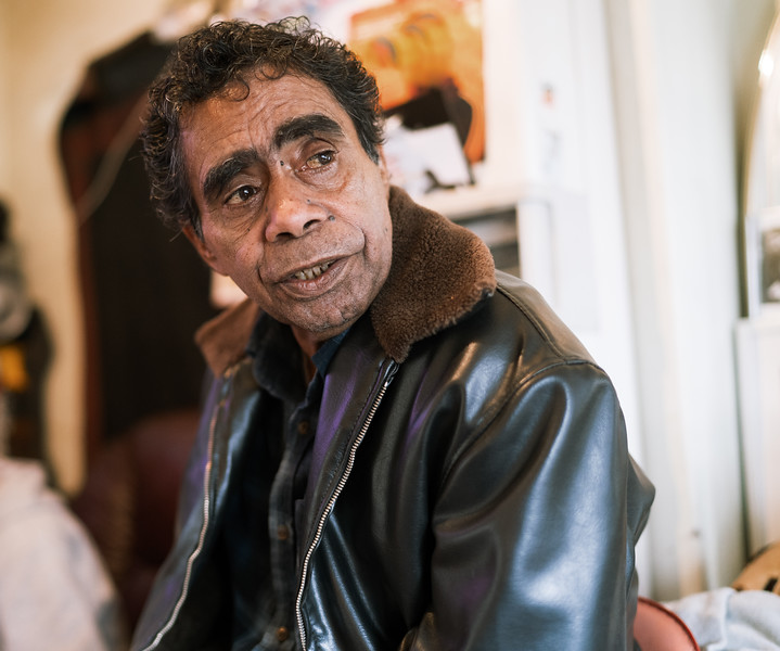 Indigenous Australian Elder wearing Leather Jacket