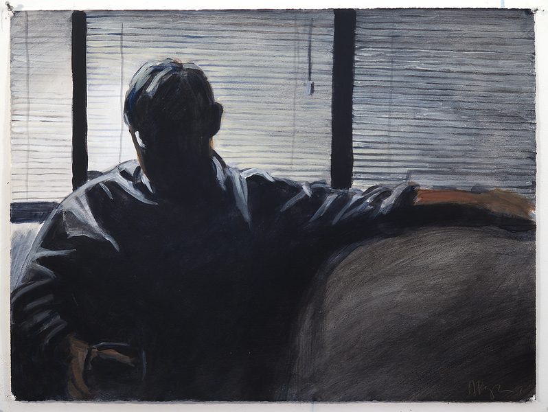 Man on Couch (NYC); acrylic on paper, 22 x 30 in, 2007