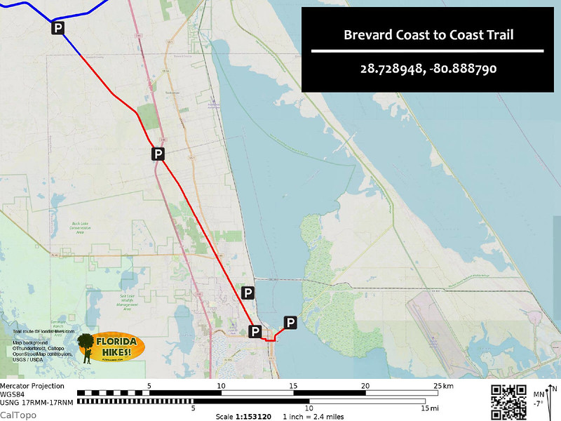 Brevard Coast to Coast Trail Map