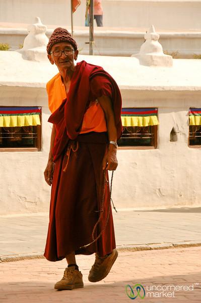Buddhist Monk in Bodhnath, Nepal