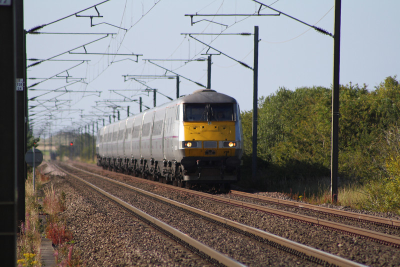 DVT 82219 at the head of a Southbound East Coast service about to run through West Goswick LC