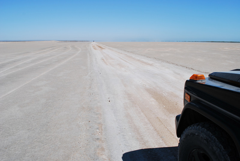 the hard packed track across the salt flats allows for quick travel - until you drive off just by a few inches (see image 22 and 26)
