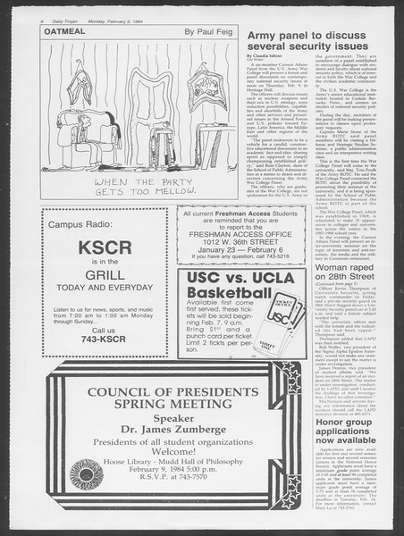 Daily Trojan, Vol. 95, No. 20, February 06, 1984