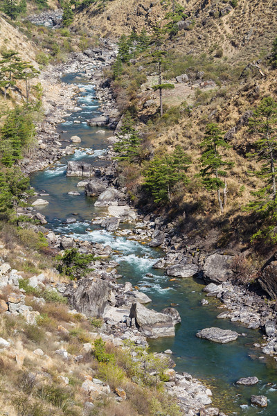 The valley of the Paro River (Chu) in Bhutan