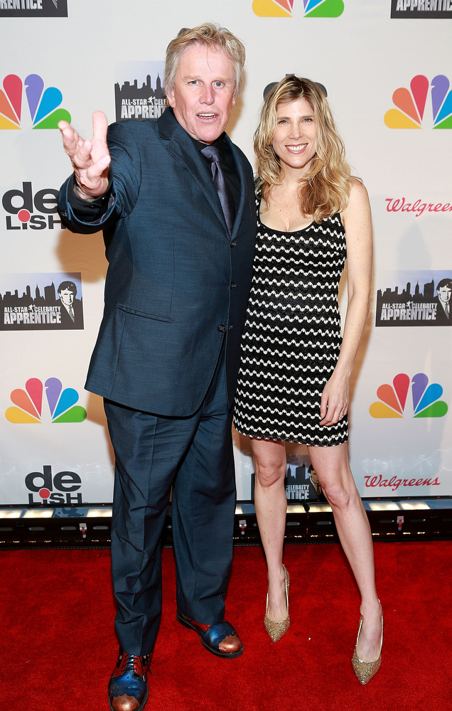 """. Gary Busey (L) and Steffanie Sampson attend \""""All Star Celebrity Apprentice\"""" Finale at Cipriani 42nd Street on May 19, 2013 in New York City.  (Photo by Robin Marchant/Getty Images)"""
