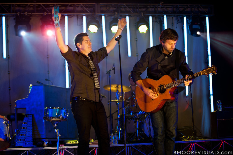 """Dan Haseltine and Matt Odmark of Jars of Clay perform in support of """"The Shelter"""" on October 23, 2010 at Countryside Christian Center in Clearwater, Florida"""