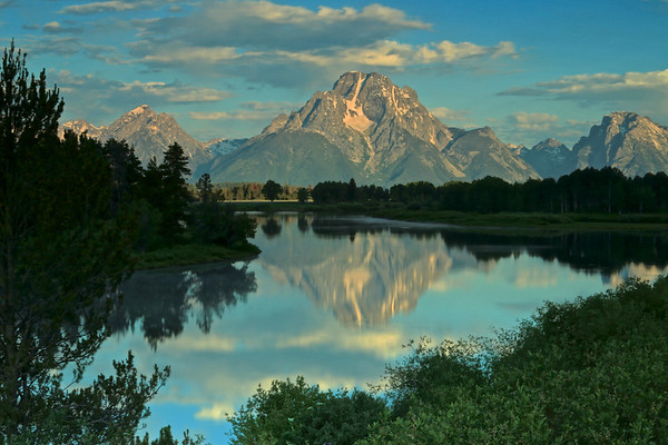 Reflections of blue at Oxbow Bend