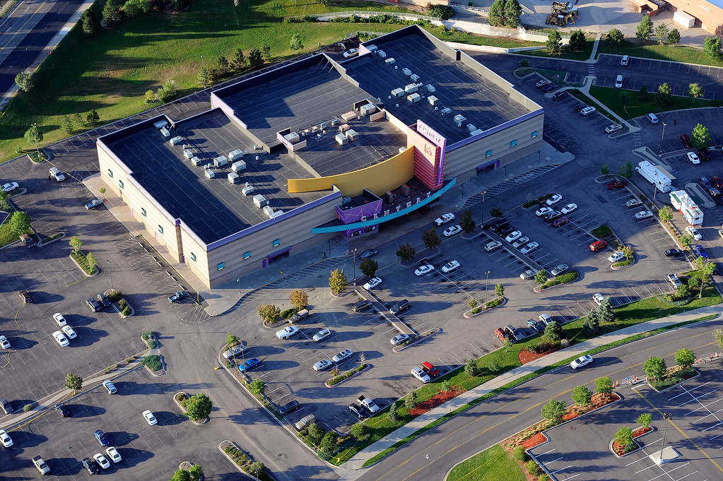 . An aerial photograph of the Century 16 movie theater in Aurora the day after a gunman opened fire during the premiere of The Dark Knight Rises in which 12 people were killed and 58 were injured, Friday, July 20th, 2012. Andy Cross, The Denver Post