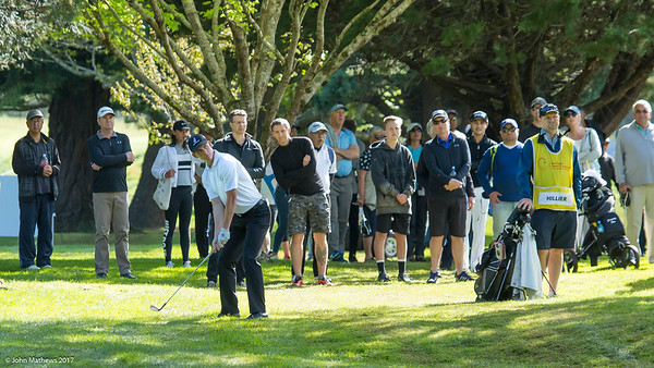 Daniel Hillier from New Zealand  hitting a ball on the 12th hole on the 2nd day of competition  in the Asia-Pacific Amateur Championship tournament 2017 held at Royal Wellington Golf Club, in Heretaunga, Upper Hutt, New Zealand from 26 - 29 October 2017. Copyright John Mathews 2017.   www.megasportmedia.co.nz