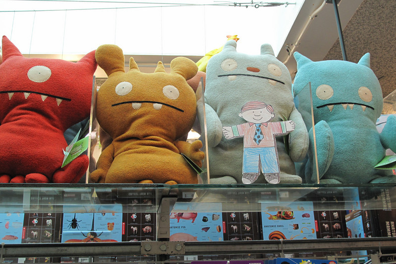 Flat Stanley and giant Ugly Dolls