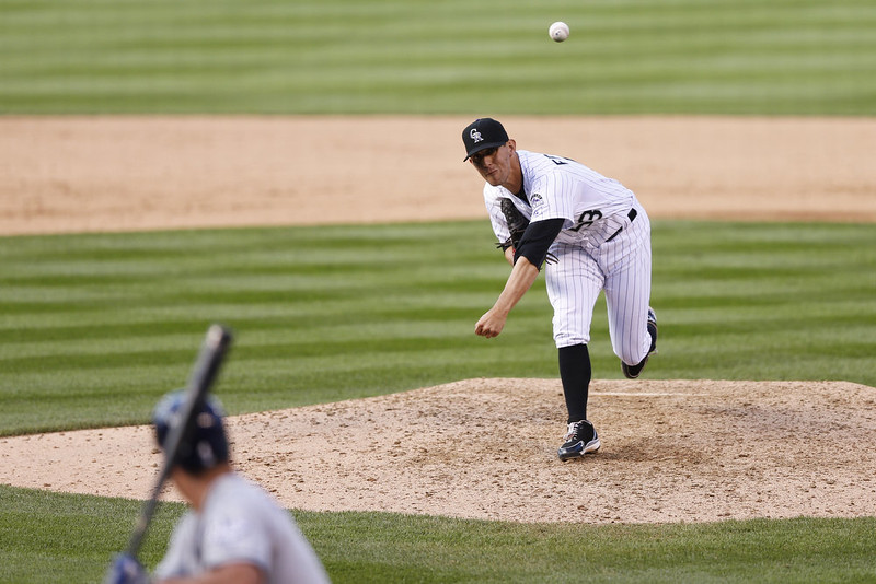 . Christian Friedrich #53 of the Colorado Rockies pitches in the ninth inning of the game against the San Diego Padres at Coors Field on September 7, 2014 in Denver, Colorado. The Rockies won 6-0. (Photo by Joe Robbins/Getty Images)