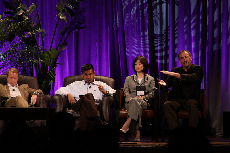 """""""HOTSPOTS II: Five Personal Views of the Future"""": (L-R) Jim Butler, GM, Communications Sector, Greater China, Microsoft; and Balan Nair, SVP and CTO, Liberty Global; Connie Wong, CEO, Vidiator; and Joe Burton, VP and CTO, Cisco Systems"""