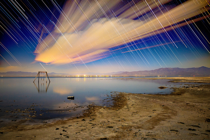 Star Trails and Cloud Trails Over Bombay Beach.