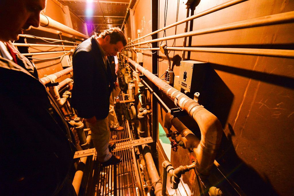 ". This photo provided by New York State Governor\'s office shows Gov. Andrew Cuomo on a catwalk looking into the cell that inmates escaped from at a maximum-security prison near the Canadian border in Dannemora, NY.  Gov. Cuomo said Saturday, June 6, 2015, that Richard Matt, 48, and David Sweat, 34, ""are two dangerous individuals.\"" (Darren McGee/New York State Governor\'s Office, via AP)"