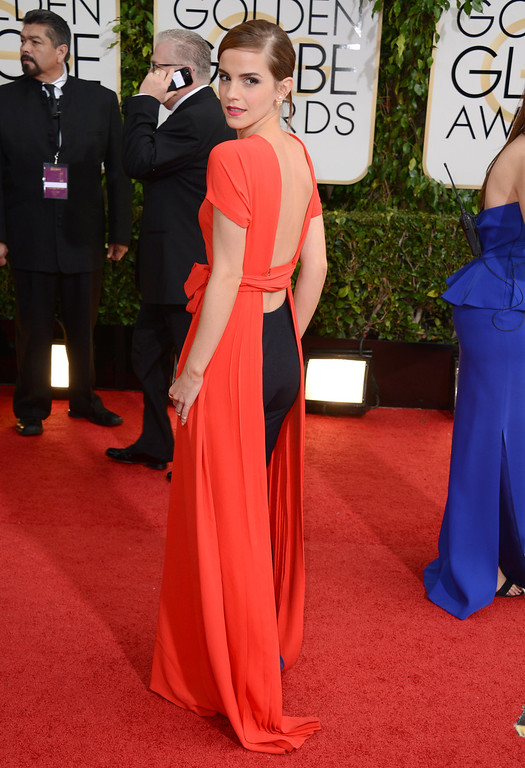 . Emma Watson arrives at the 71st annual Golden Globe Awards at the Beverly Hilton Hotel on Sunday, Jan. 12, 2014, in Beverly Hills, Calif. (Photo by Jordan Strauss/Invision/AP)