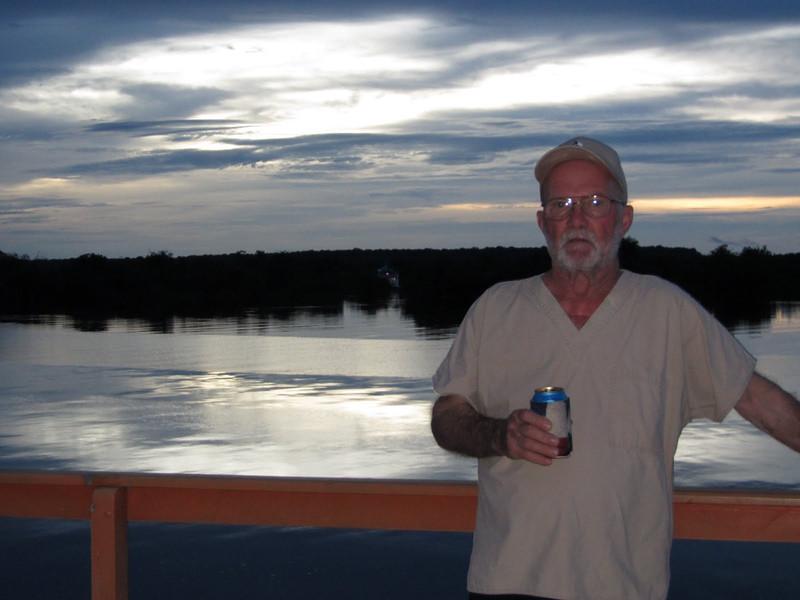 David enjoying a cold beer