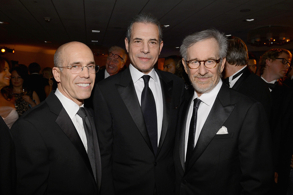 . WASHINGTON, DC - APRIL 27:  Jeffrey Katzenberg, Time Magazine Managing Editor Rick Stengel and Steven Spielberg attend the White House Correspondents\' Association Dinner at the Washington Hilton on April 27, 2013 in Washington, DC.  (Photo by Larry Busacca/Getty Images for Time, Inc)