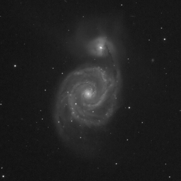 Messier M51 - NGC5194 - Whirlpool Galaxy in Canes Venatici - 6/5/19 (Single cropped luminance-only image)