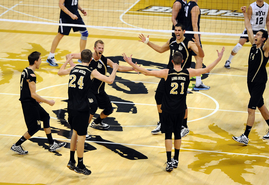 . 49ers celebrate match point in their win over BYU in Long Beach, CA on Friday, March 7, 2014 #3 Long Beach State beat #2 BYU 3-1 in men\'s volleyball at Walter Pyramid. (Photo by Scott Varley, Daily Breeze)