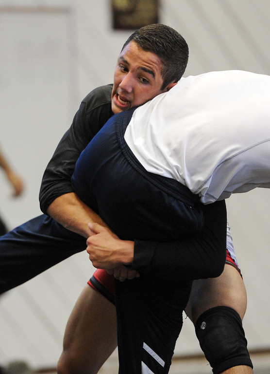 . Aaron Pico, of St. John Bosco High School, practices with the U.S. national wrestling at Harvard-Westlake High School, Friday, May 17, 2013. The USA, Canada and Russia national teams will meet for in exhibition 2:00 p.m. Sunday at L.A. Memorial Sports Arena. (Michael Owen Baker/Staff Photographer)
