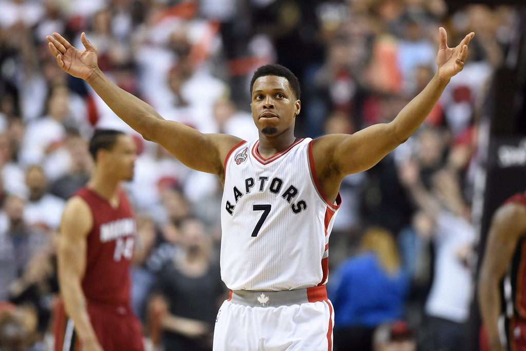 . Toronto Raptors\' Kyle Lowry gestures as he\'s taken out of the game during the second half of Game 7 of the NBA basketball Eastern Conference semifinals against the Miami Heat in Toronto, Sunday, May 15, 2016. (Frank Gunn/The Canadian Press via AP) MANDATORY CREDIT