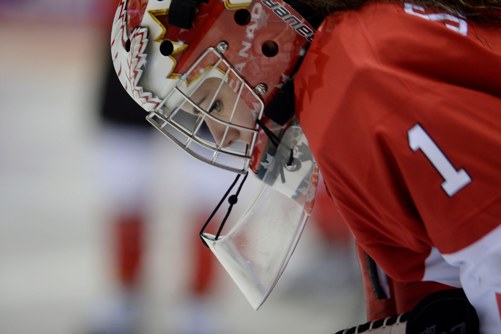 . Shannon Szabados (1) of the Canada takes a breather against the U.S.A. during the third period of the women\'s gold medal ice hockey game. Sochi 2014 Winter Olympics on Thursday, February 20, 2014 at Bolshoy Ice Arena. (Photo by AAron Ontiveroz/ The Denver Post)