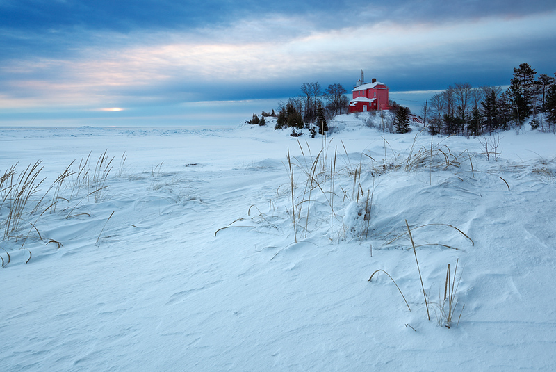 Red Winter Light - Marquette Harbor Lighthouse (Marquette, MI)