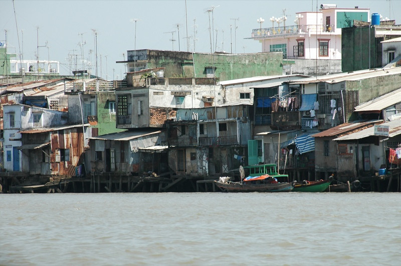 Houses Along the Mekong River - Mekong Delta, Vietnam