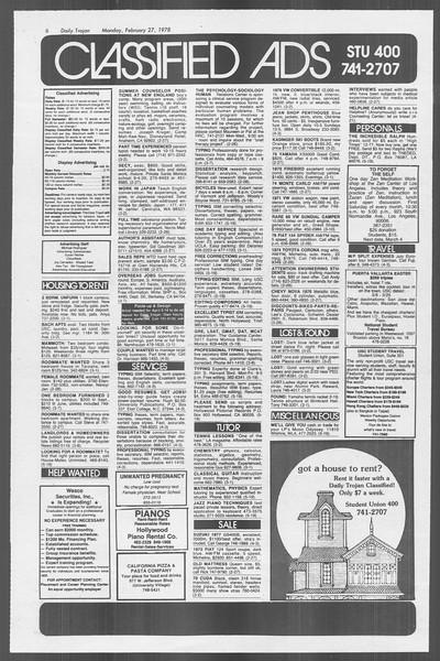 Daily Trojan, Vol. 73, No. 13, February 27, 1978