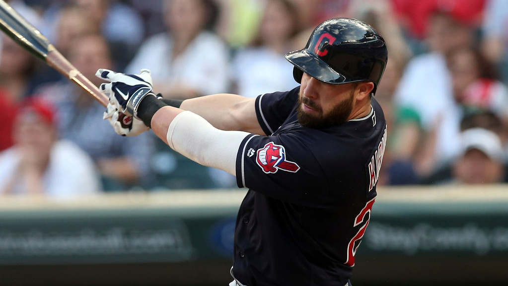 . Cleveland Indians\' Jason Kipnis bats against the Minnesota Twins in the first inning of a baseball game Thursday, May 31, 2018, in Minneapolis. (AP Photo/Jim Mone)