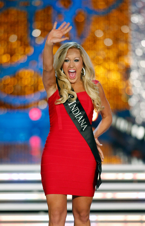 . Miss Indiana MerrieBeth Cox competes in the Miss America pageant on Saturday, Jan. 12, 2013, in Las Vegas. (AP Photo/Isaac Brekken)